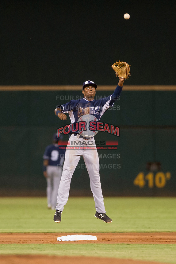 AZL Padres second baseman Esteury Ruiz (13) catches a ball thrown by the catcher between innings of a game against the AZL Indians on August 30, 2017 at Goodyear Ball Park in Goodyear, Arizona. AZL Padres defeated the AZL Indians 7-6. (Zachary Lucy/Four Seam Images)