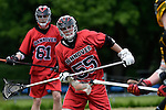 GER - Hannover, Germany, May 30: During the Men Lacrosse Playoffs 2015 match between HTHC Hamburg (black) and DHC Hannover (red) on May 30, 2015 at Deutscher Hockey-Club Hannover e.V. in Hannover, Germany. Final score 17:2. (Photo by Dirk Markgraf / www.265-images.com) *** Local caption *** Michael Muench #55 of DHC Hannover
