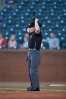 Home plate umpire Jennifer Pawol works the South Atlantic League game between the Hickory Crawdads and the Ocelotes de Greensboro at First National Bank Field on June 11, 2019 in Greensboro, North Carolina. The Crawdads defeated the Ocelotes 2-1. (Brian Westerholt/Four Seam Images)