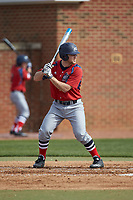 Brady Hall (14) of the NJIT Highlanders at bat against the High Point Panthers at Williard Stadium on February 18, 2017 in High Point, North Carolina. The Panthers defeated the Highlanders 11-0 in game one of a double-header. (Brian Westerholt/Four Seam Images)