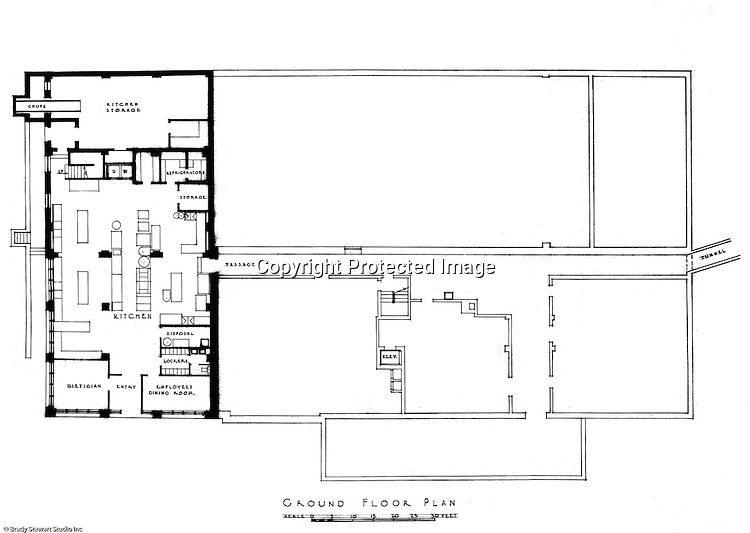 Pittsburgh PA:  An Ingham, Boyd, and Pratt drawing of the renovated ground floor of Woodland Hall at the Pennsylvania College for Women's campus.  Ingham, Boyd, and Pratt Architect's various designs were submitted from 1948 through 1952 with construction starting in 1953. Pennsylvania College for Women was renamed Chatham College in 1955.