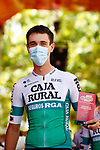 Most aggressive rider from yesterday's stage Oier Lazkano (ESP) Caja Rural–Seguros RGA at sign on before the start of Stage 6 of La Vuelta d'Espana 2021, running 158.3km from Requena to Alto de la Montaña Cullera, Spain. 19th August 2021.    <br /> Picture: Luis Angel Gomez/Photogomezsport   Cyclefile<br /> <br /> All photos usage must carry mandatory copyright credit (© Cyclefile   Luis Angel Gomez/Photogomezsport)