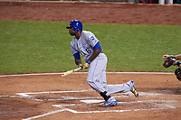 Kansas City Royals Lorenzo Cain bats during the MLB All-Star Game on July 14, 2015 at Great American Ball Park in Cincinnati, Ohio.  (Mike Janes/Four Seam Images)