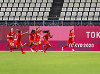 KASHIMA, JAPAN - AUGUST 2: Jessie Fleming #17 of Canada celebrates her goal during a game between Canada and USWNT at Kashima Soccer Stadium on August 2, 2021 in Kashima, Japan.