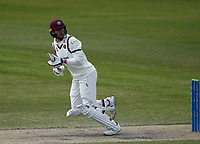 16th April 2021; Emirates Old Trafford, Manchester, Lancashire, England; English County Cricket, Lancashire versus Northants; Rob Keogh of Northamptonshire clips to the on side for runs