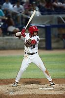 Jose Sanchez (12) of the Fredericksburg Nationals at bat against the Delmarva Shorebirds at Fredericksburg Nationals Ballpark on July 28, 2021 in Fredericksburg, Virginia. (Brian Westerholt/Four Seam Images)