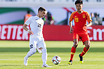 Anton Zemlianukhin of Kyrgyz Republic (R) competes for the ball with Liu Yang of China during the AFC Asian Cup UAE 2019 Group C match between China (CHN) and Kyrgyz Republic (KGZ) at Khalifa Bin Zayed Stadium on 07 January 2019 in Al Ain, United Arab Emirates. Photo by Marcio Rodrigo Machado / Power Sport Images