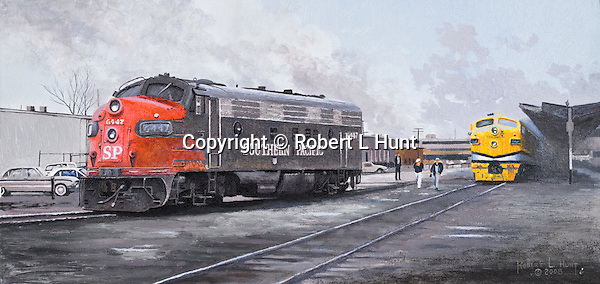 """A crew change coming for a single Southern Pacific Railroad F7A diesel locomotive showing some dirt and wear from long days working over the line, Ogden, Utah, railroad yard. Oil on canvas, 8"""" x 16""""."""