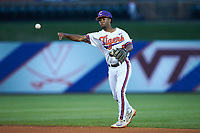Jordan Greene (9) of the Clemson Tigers on defense against the Duke Blue Devils in Game Three of the 2017 ACC Baseball Championship at Louisville Slugger Field on May 23, 2017 in Louisville, Kentucky. The Blue Devils defeated the Tigers 6-3. (Brian Westerholt/Four Seam Images)