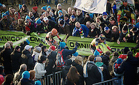Sven Nys (BEL/Crelan-AAdrinks) leading the race for a while followed by Wout Van Aert (BEL/Vastgoedservice-Golden Palace)<br /> <br /> GP Sven Nys 2015