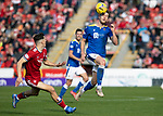 Aberdeen v St Johnstone…18.09.21  Pittodrie    SPFL<br />Jamie McCart and Calvin Ramsay<br />Picture by Graeme Hart.<br />Copyright Perthshire Picture Agency<br />Tel: 01738 623350  Mobile: 07990 594431