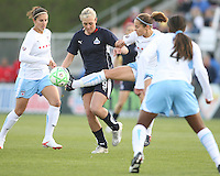 Allie Long (9) of the Washington Freedom loses the ball to Brittany Klein (6) of the Chicago Red Stars during a WPS match at Maryland Soccerplex on April 11 2009, in Boyd's, Maryland.  The game ended in a 1-1 tie.