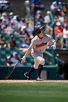 Scranton/Wilkes-Barre RailRiders Billy Burns (17) bats during an International League game against the Rochester Red Wings on June 25, 2019 at Frontier Field in Rochester, New York.  Rochester defeated Scranton 10-9.  (Mike Janes/Four Seam Images)
