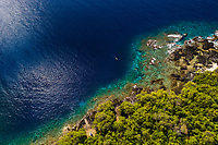 An aerial view of the Captain Cook monument and Kealakekua Bay, Big Island of Hawai'i.