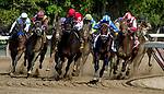 SARATOGA SPRINGS, NY - AUGUST 26: Practical Joke (red cap, inside) #1, with Joel Rosario comes up the rail on the turn for home en route to winning the H. Allen Jerkens Stakes on Travers Stakes Day at Saratoga Race Course on August 26, 2017 in Saratoga Springs, New York. (Photo by Bob Mayberger/Eclipse Sportswire/Getty Images)
