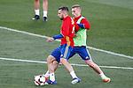Spain's Jordi Alba (l) and Gerard Deulofeu during training session. March 20,2017.(ALTERPHOTOS/Acero)