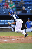 Asheville Tourists right fielder Willie Abreu (6) swings at a pitch during a game against the Greensboro Grasshoppers at McCormick Field on April 27, 2017 in Asheville, North Carolina. The Tourists defeated the Grasshoppers 8-5. (Tony Farlow/Four Seam Images)