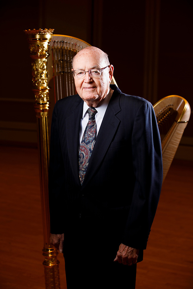 USA International Harp Competition Vice President of Finance Clarence D. Miller poses for a portrait during the 11th USA International Harp Competition at Indiana University in Bloomington, Indiana on Saturday, July 13, 2019. (Photo by James Brosher)