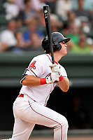 Left fielder Granger Studdard (35) of the Greenville Drive bats in a game against the Asheville Tourists on Wednesday, August 2, 2017, at Fluor Field at the West End in Greenville, South Carolina. Greenville won, 1-0. (Tom Priddy/Four Seam Images)