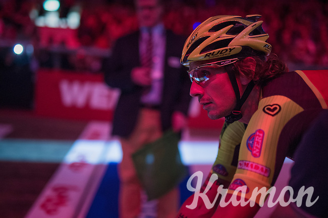 Filippo 'Pipo' Pozzato (ITA/Wilier Triestina–Southeast)  ready on the velodrome during 'Ciao Fabian'; a farewell event in 't Kuipke in Gent/Belgium for Fabian Cancellara after his retiring from pro racing (november 2016)