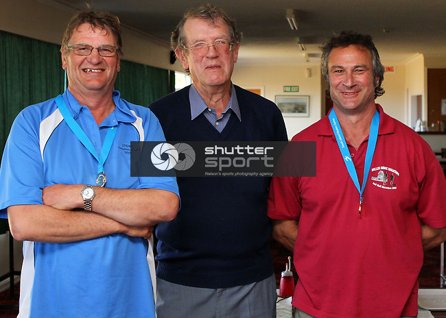 Div 1 Winners  Terry Weichern & Bruno De Lorenzo with Bowls Nelson president Paul Marshall. Lawn Bowls ,SI Masters Games, 20 October 2011, Nelson, New Zealand<br /> Photo: Marc Palmano/shuttersport.co.nz