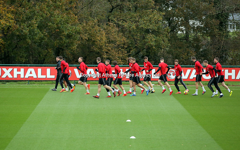 The players warm up during the Wales Training Session at The Vale Resort, Wales, UK. 06 November 2017