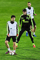 Spanish National Team's  training at Ciudad del Futbol stadium in Las Rozas, Madrid, Spain. In the pic: Cesc Fabregas, Morata and Mario Suarez. March 25, 2015. (ALTERPHOTOS/Luis Fernandez) /NORTEphoto.com
