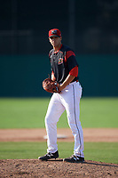 Batavia Muckdogs relief pitcher Colton Hock (13) gets ready to deliver a pitch during the second game of a doubleheader against the Williamsport Crosscutters on August 20, 2017 at Dwyer Stadium in Batavia, New York.  Batavia defeated Williamsport 4-3.  (Mike Janes/Four Seam Images)