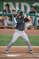 Nate Scantlin (11) of the Grand Junction Rockies at bat against the Ogden Raptors at Lindquist Field on June 5, 2021 in Ogden, Utah. The Raptors defeated the Rockies 18-1. (Stephen Smith/Four Seam Images)