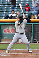 Stephen Vogt (26) of the Sacramento River Cats at bat against the Salt Lake Bees at Smith's Ballpark on April 5, 2014 in Salt Lake City, Utah.  (Stephen Smith/Four Seam Images)