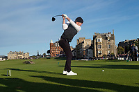 3rd October 2021; The Old Course, St Andrews Links, Fife, Scotland; European Tour, Alfred Dunhill Links Championship, Fourth round; Danny Willett of England tees off on the eighteenth hole during the final round of the Alfred Dunhill Links Championship on the Old Course, St Andrews