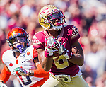 Florida State wide receiver Nyquan Murray hauls in a 51 yard touchdown pass in the 1st half of an NCAA college football game against Syracuse in Tallahassee, Fla., Saturday, Nov. 4, 2017.  (AP Photo/Mark Wallheiser)
