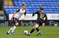 Bolton Wanderers' Harry Brockbank competing with Oldham Athletic's Conor McAleny (right) <br /> <br /> Photographer Andrew Kearns/CameraSport<br /> <br /> The EFL Sky Bet League Two - Bolton Wanderers v Oldham Athletic - Saturday 17th October 2020 - University of Bolton Stadium - Bolton<br /> <br /> World Copyright © 2020 CameraSport. All rights reserved. 43 Linden Ave. Countesthorpe. Leicester. England. LE8 5PG - Tel: +44 (0) 116 277 4147 - admin@camerasport.com - www.camerasport.com