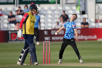 Archie Lenham in bowling action for Sussex during Essex Eagles vs Sussex Sharks, Vitality Blast T20 Cricket at The Cloudfm County Ground on 15th June 2021