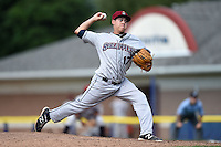 Mahoning Valley Scrappers pitcher Cortland Cox (17) delivers a pitch during a game against the Batavia Muckdogs on August 24, 2014 at Dwyer Stadium in Batavia, New York.  Mahoning Valley defeated Batavia 7-6.  (Mike Janes/Four Seam Images)