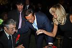 UMBERTO E RENZO BOSSI CON GIANFRANCO FINI ED ELISABETTA TULLIANI<br /> FESTA RIUNIFICAZIONE  A VILLA ALMONE RESIDENZA AMBASCIATORE TEDESCO -  ROMA  OTTOBRE 2008