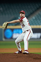 Arkansas Razorbacks starting pitcher Kole Ramage (28) in action against the Baylor Bears in game nine of the 2020 Shriners Hospitals for Children College Classic at Minute Maid Park on March 1, 2020 in Houston, Texas. The Bears defeated the Razorbacks 3-2. (Brian Westerholt/Four Seam Images)