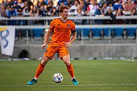 SAN JOSE, CA - JULY 24: Tim Parker #5 of the Houston Dynamo prepares to pass the ball during a game between San Jose Earthquakes and Houston Dynamo at PayPal Park on July 24, 2021 in San Jose, California.