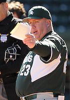Head coach Jake Boss Jr. of the Michigan State Spartans in a game against the Northwestern Wildcats on Sunday, February 17, 2013, at Fluor Field at the West End in Greenville, South Carolina. (Tom Priddy/Four Seam Images)