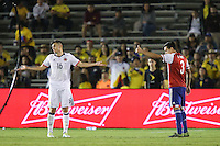 Pasadena, CA - Tuesday June 07, 2016: Colombia midfielder Daniel Torres (16) and Paraguay defender Gustavo Gómez (3) during a Copa America Centenario Group A match between Colombia (COL) and Paraguay (PAR) at Rose Bowl Stadium.