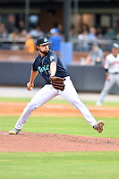 Asheville Tourists pitcher Jonathan Sprinkle (34) delivers a pitch during a game against the Aberdeen IronBirds on June 19, 2021 at McCormick Field in Asheville, NC. (Tony Farlow/Four Seam Images)