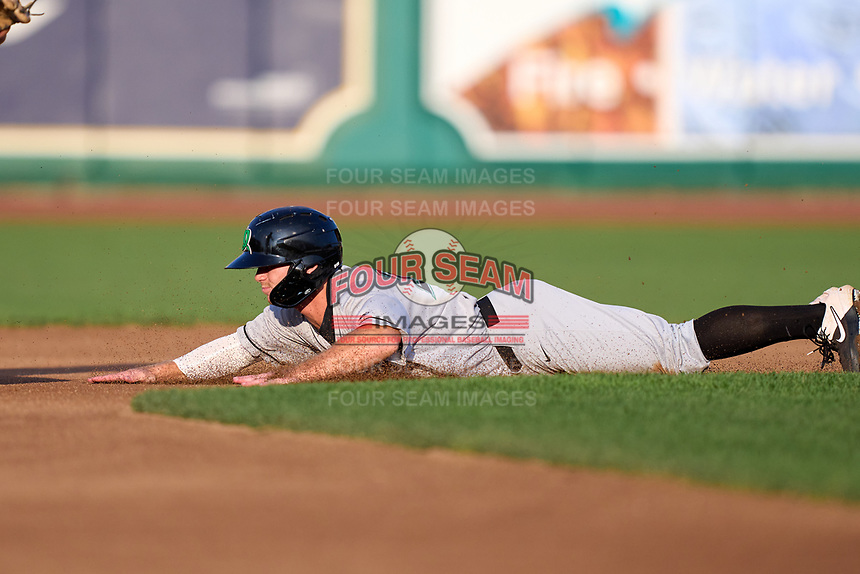 Dayton Dragons Matt McLain (23) slides head first into second base during a game against the Fort Wayne TinCaps on August 25, 2021 at Parkview Field in Fort Wayne, Indiana.  (Mike Janes/Four Seam Images)