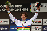 29th August 2021; Commezzadura, Trentino, Italy; 2021 Mountain Bike Cycling World Championships, Val di Sole; Downhill;  Downhill final, Junior mens Jackson GOLDSTONE (CAN) gold medalist