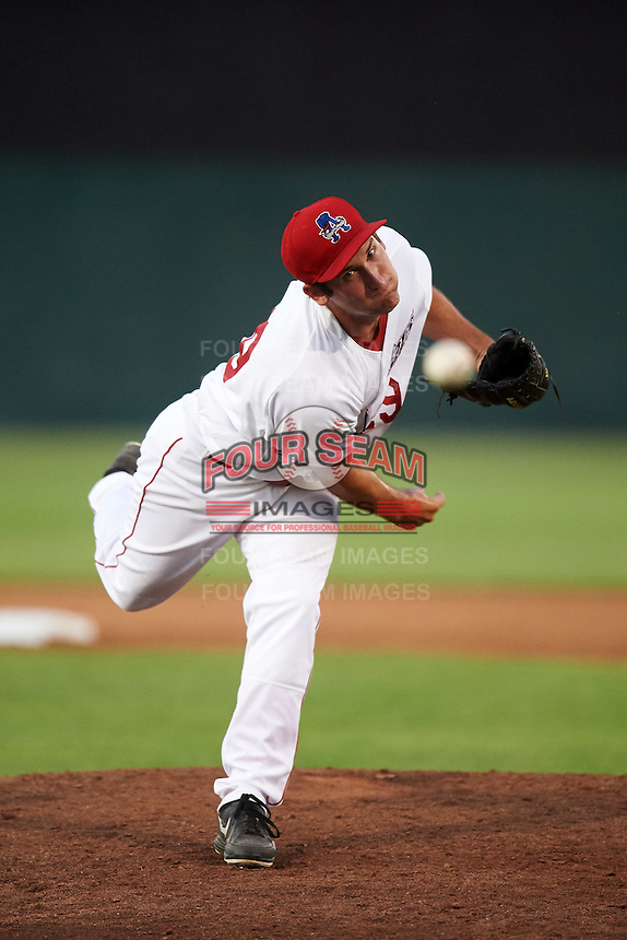 Auburn Doubledays relief pitcher Russell Harmening (29) during a game against the Vermont Lake Monsters on July 12, 2016 at Falcon Park in Auburn, New York.  Auburn defeated Vermont 3-1.  (Mike Janes/Four Seam Images)