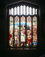 Detail of the stained-glass window by Milner which is located at the top of the main staircase