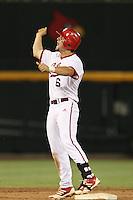 Indiana Hoosiers first baseman Sam Travis #6 during Game 6 of the 2013 Men's College World Series between the Indiana Hoosiers and Mississippi State Bulldogs at TD Ameritrade Park on June 17, 2013 in Omaha, Nebraska. (Brace Hemmelgarn/Four Seam Images)