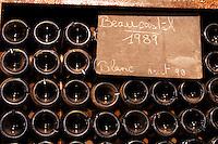Pile of bottles Beaucastel blanc white 1989. Chateau de Beaucastel, Domaines Perrin, Courthézon Courthezon Vaucluse France Europe