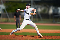 Pitcher Silas Shaffer (13) during the Perfect Game National Underclass East Showcase on January 23, 2021 at Baseball City in St. Petersburg, Florida.  (Mike Janes/Four Seam Images)