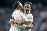 Real Madrid's Dani Ceballos (r) and Daniel Carvajal celebrate goal during La Liga match. August 19,2018.  *** Local Caption *** © pixathlon<br /> Contact: +49-40-22 63 02 60 , info@pixathlon.de