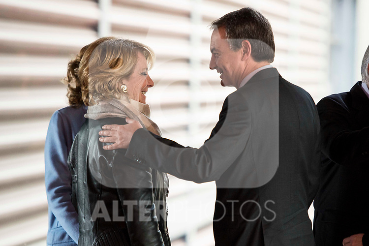 Esperanza Aguirre and Jose Luis Rodriguez Zapatero attends to the act of imposition of the great cross of the civil order of Alfonso X el Sabio to D. Francisco Luzon Lopez at Reina Sofia Museum in Madrid. March 13, 2017. (ALTERPHOTOS/Borja B.Hojas)